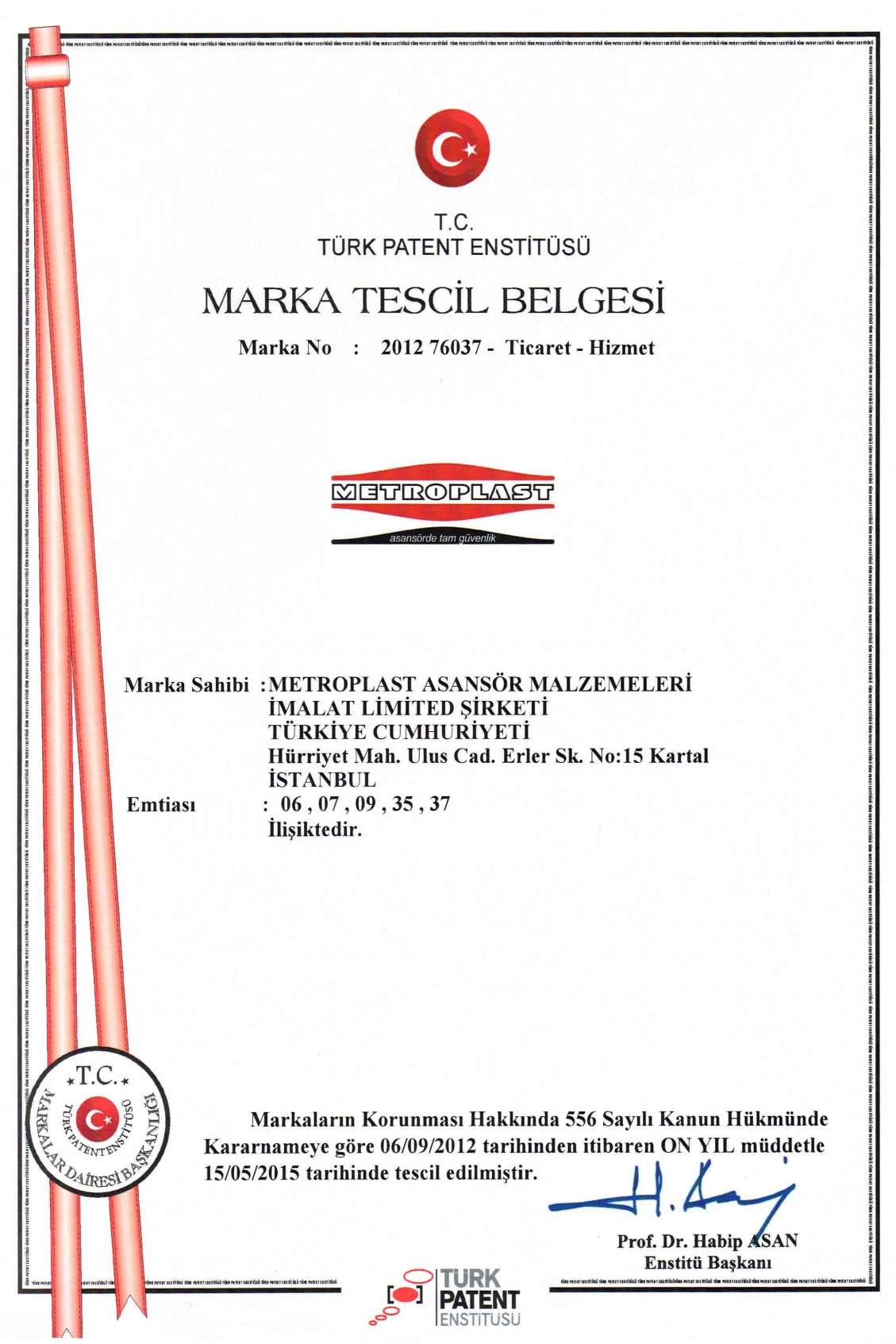 Metroplast Mark Tescil Belgesi