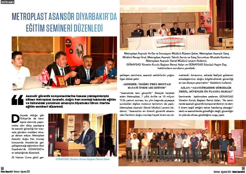 Metroplast Asansör Diyarbakır'da Eğitim Semineri Düzenledi